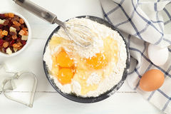 Flour and eggs bake ingridients Stock Images