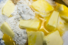 Flour, eggs, butter and sugar, ingredients for shortcrust pastry. Baking background, closeup as a baking background  with selected focus an narrow depth of Stock Image