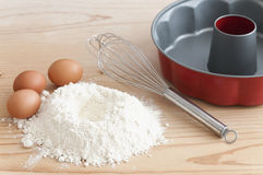 Flour and eggs. Ingredients for dough preparation cake stock photos