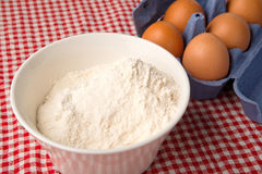 Flour and eggs Royalty Free Stock Photography