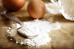 Flour, eggs and milk Stock Photography