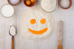 Flour, eggs, milk, salt, sugar baking ingredients Stock Photography