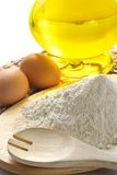 Flour, Eggs, Oil-ingredients Stock Images