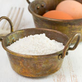 Flour and eggs Royalty Free Stock Image