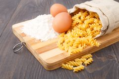 Flour eggs and pasta Stock Images