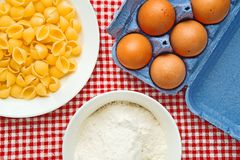 Flour, eggs and pasta Royalty Free Stock Photography