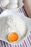 Flour and eggs recipe Royalty Free Stock Photo