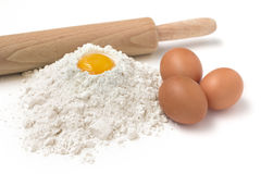 Flour and eggs Royalty Free Stock Images
