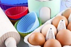 Flour, eggs and sugar Stock Photo