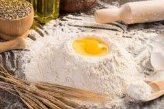 Flour, eggs, wheat still-life Royalty Free Stock Photos