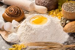 Flour, eggs, wheat still-life Royalty Free Stock Images