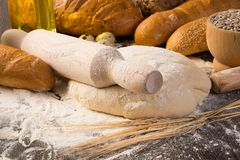 Flour, Eggs, White Bread, Wheat Ears Royalty Free Stock Images