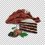 Flour And Fresh baking. piece of cake, cookie on transparent background Related Illustration In Bright Cartoon Style. Flour and baking. piece of cake, cookie on Royalty Free Stock Images