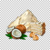 Flour And Fresh baking. piece of cake, cookie on transparent background Related Illustration In Bright Cartoon Style. Flour and baking. piece of cake, cookie on Stock Image