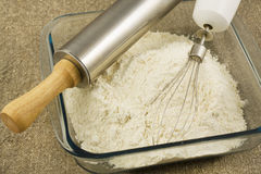 Flour in a glass bowl Royalty Free Stock Photography