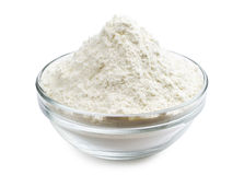 Flour in glass bowl Royalty Free Stock Images