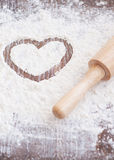 Flour heart Royalty Free Stock Images