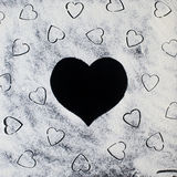 Flour in the hearts. Valentine's day Royalty Free Stock Photo