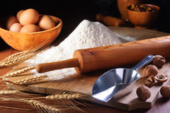 Flour and ingredients Royalty Free Stock Image