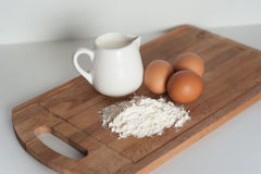 Flour, milk and eggs.  Royalty Free Stock Image