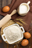 Flour, milk, eggs Royalty Free Stock Photography