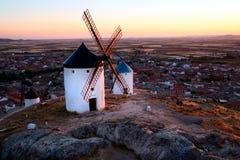 Flour mills. Consuegra. La Mancha stock photo