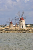 Flour mills in the fantastic Salina of Marsala Royalty Free Stock Image
