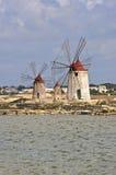 Flour mills in the fantastic Salina of Marsala Royalty Free Stock Image