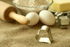 Flour, oil, eggs and rolling pin Stock Photography