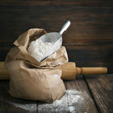 Flour in paper bag. Royalty Free Stock Photo