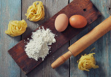Flour, pasta and rolling-pin Stock Photo