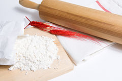 Flour and roller Stock Photo
