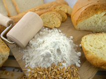 Flour and rolling pin Stock Image