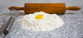 Flour Rolling Pin, Egg Beater and Egg Yolk III Stock Image