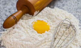 Flour, Rolling Pin, Egg Beater and Egg Yolk VI Stock Images