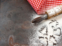Flour, rolling pin and red napkin. Christmas holidays concept Royalty Free Stock Photo
