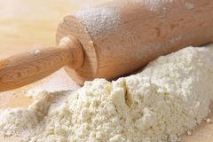 Flour and rolling pin Stock Photography