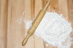 Flour and rolling pin Royalty Free Stock Photo