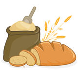 Flour sack and bread. Illustration of a sack of flour, a loaf of bread and sliced bread and barley vector illustration