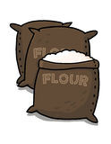 Flour sacks illustration. Open sack containing flour; Brown flour sacks drawing Stock Image