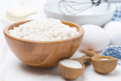 Flour, Salt, Sugar And Eggs For Baking Pancakes, Close-up Royalty Free Stock Photo