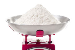 Flour on scales Royalty Free Stock Photos