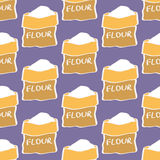 Flour. Seamless pattern with sack of flour. Hand-drawn background. Vector illustration. Royalty Free Stock Photo