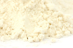Flour - smooth type. Close up view of smooth flour on white background Royalty Free Stock Images