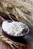 Flour on a spoon Royalty Free Stock Images