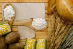 Flour and starch. Products out of which these ingredients stock images