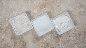 Flour, Sugar, and Corn Starch in Bowls Royalty Free Stock Photography