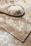 Flour sur une cuillère en bois Image stock