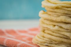 Flour Tortilla Stack with Copy Space to Left Royalty Free Stock Images