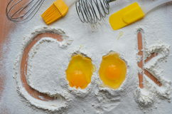 Flour and two eggs Stock Photography